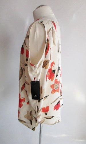 NEU Sommer Top Größe 46 Leinen Natur Mohnblumen Blüten Tunika Oversize Shirt Viskose Leinenbluse