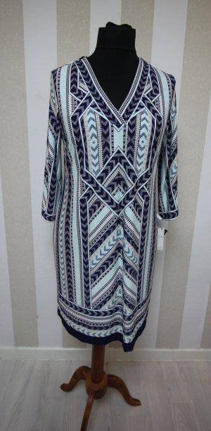 Robe tunique blanc-bleu