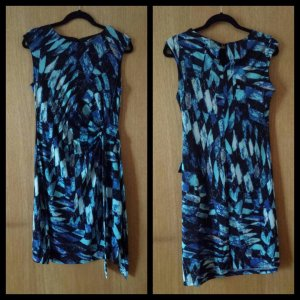 NEU Sommerkleid Stretchkleid Wickelkleid blau türkis