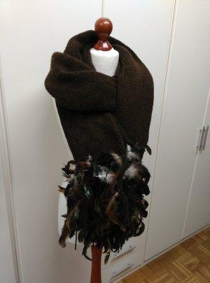 NEU! Sportmax XXL Pompös Herbst Winter großer Schal mit Federn in braun