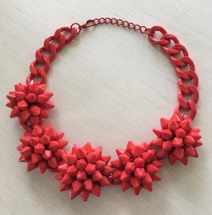 Neu Statement Kette Collier Necklace Korallenrot Rot Pink Kristallen Blogger