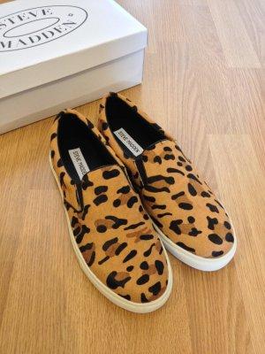 NEU Steve Madden Blogger Leopard Slip-on Slipper Sneakers 38 Leo Fell Echtleder