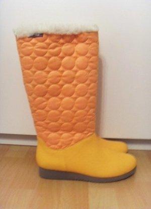 *NEU* Stiefel flip flop Gelb Steppung gefüttert Fake Fell boho Gr. 40
