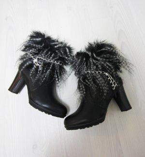 NEU Stiefeletten High Heels Boots mit Fake Fur Details Chain Kunstfell