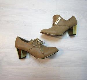 NEU Stiefeletten High Heels Boots mit metallic Absatz