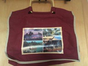 Neu: Stofftasche mit Holzgriffen, rot
