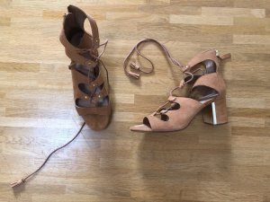 Stradivarius High-Heeled Sandals light brown-sand brown suede