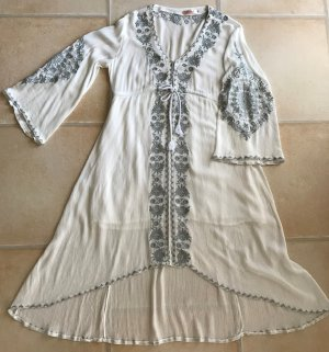 NEU Strandkleid weiß Cocktail Kleid Sommerkleid Stickerei V-Ausschnitt 38 40 42 M - L 100 % Baumwolle Midikleid Hippie Boho Ethno