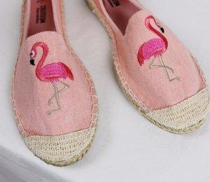 NEU Strandschuhe Espandrilles Colloseum Größe 36 Rosa Flamingo Vogel Stoffschuhe Slipper Jeans Stickerei Textilschuhe Sandale