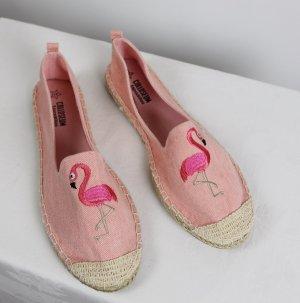 NEU Strandschuhe Espandrilles Colloseum Größe 37 Rosa Flamingo Vogel Stoffschuhe Slipper Jeans Stickerei Textilschuhe Sandale
