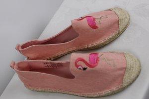 NEU Strandschuhe Espandrilles Colloseum Größe 37 Rosa Flamingo Vogel Strandschuhe Slipper Jeans Stickerei Textilschuhe Sandale