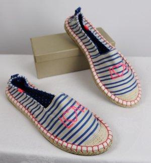 NEU Strandschuhe Espandrilles Colloseum Größe 38 Neon Pink Blau Streifen Punkte Love Schriftzug Stoffschuhe Slipper Jeans Stickerei Textilschuhe Sandale