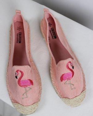 NEU Strandschuhe Espandrilles Colloseum Größe 40 Rosa Flamingo Vogel Stoffschuhe Slipper Jeans Stickerei Textilschuhe Sandale