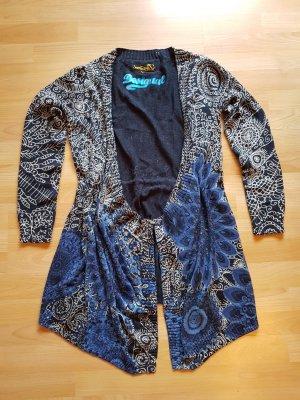 NEU: Strick-Wickelkleid/-jacke Gr. XL von DESIGUAL, blau-gemustert