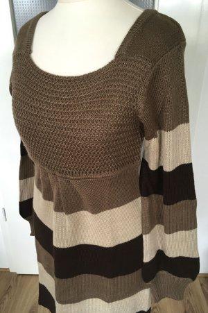 Neu Strickkleid S 36 XS 34 Neutral Nude Beige Pullover Longpulli Streifen Pulli Damen Kleid