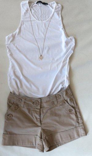 NEU & stylisch! H&M High Waist Shorts, kurze Stretch Hose, beige, nude Gr. 34 XS
