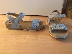 Sandalias de tiras gris Cuero