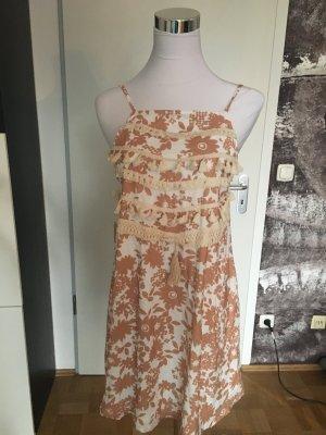 Neu! Süßes Sommerkleid mit Fransen und Stickereien, geblümt, S