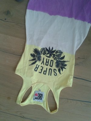 Neu Superdry Kleid weiß gelb lila Logo print Neupreis 60 € Gr.S 36