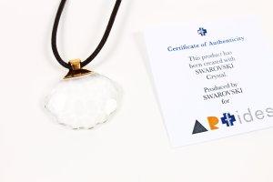 NEU * Swarovski Kristall Anhänger Muschel mit Kette Leder braun gold * Artides