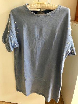 Zara Vestido de tela de sudadera azul celeste