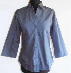 Neu: taillierte, blau-graue Hemdbluse von Russell Collection, 3/4-Arm, Gr. M