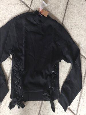 Neu Tally Weijl Sweatshirt Pullover Gr. M 38 Schwarz zum Binden Trend Blogger
