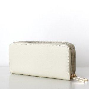 NEU TARA Wallet Clutch Saffiano Creme Weiß Geldbörse Portemonnaie