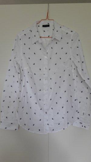 NEU Tchibo klassische Bluse weiß marineblau mit Schiffprint Gr. 36