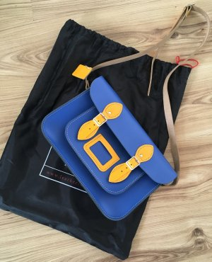 Satchel blue-yellow leather