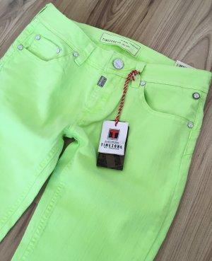 NEU Timezone Neon Gelb Grün Jeans XS W26 34 Skinny Low Waist Röhrenjeans