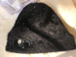 Chapeau en tissu noir laine