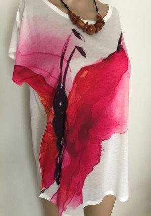 Top batik blanc-rose tissu mixte