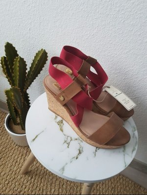 Neu Tom Tailor Wedges Keilabsatz Braun Rot