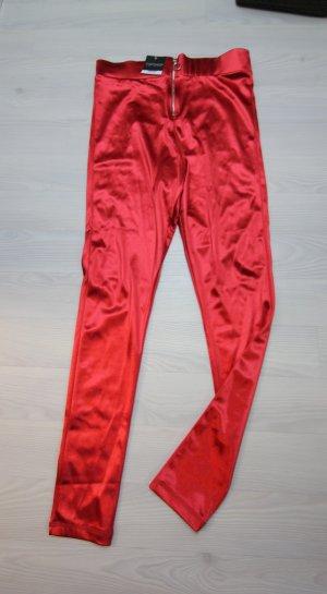 Topshop Pantalone a vita alta argento-rosso