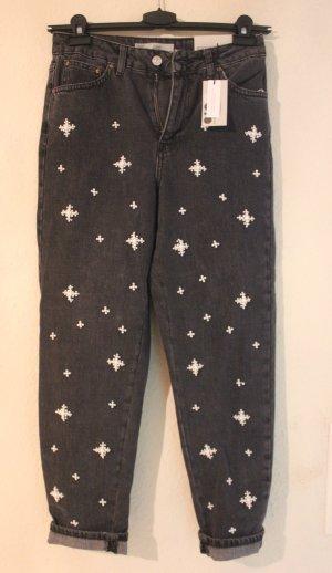 NEU TOPSHOP High Waist Jeans mit Perlen Details W28 L 30