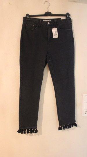 NEU TOPSHOP Jeans mit Fransen Pom Pom Bommeln W32 L32