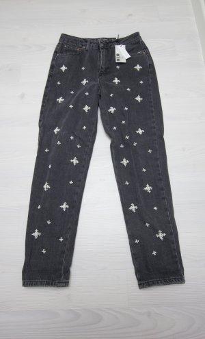 Topshop Jeans gris foncé-blanc
