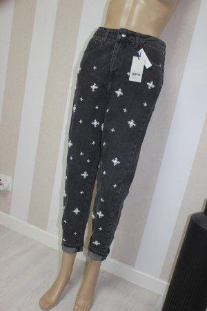 NEU Topshop Mom Jeans mit Perlen Strass Gr W28 L32
