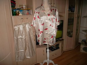 Hunkemöller Pyjama crème-rouge polyester