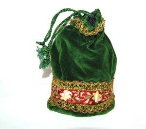 NEU - Trachtenbeutel aus grünem Samt - Pompadour