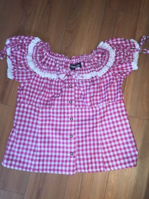 Folkloristische blouse framboosrood-wit