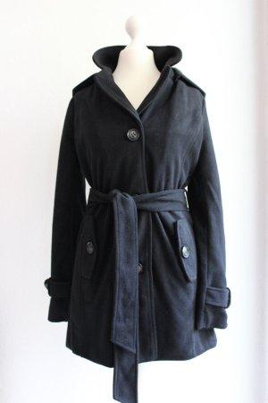 Neu! Trenchcoat / Mantel mit Kapuze aus leichtem Fleece, schwarz