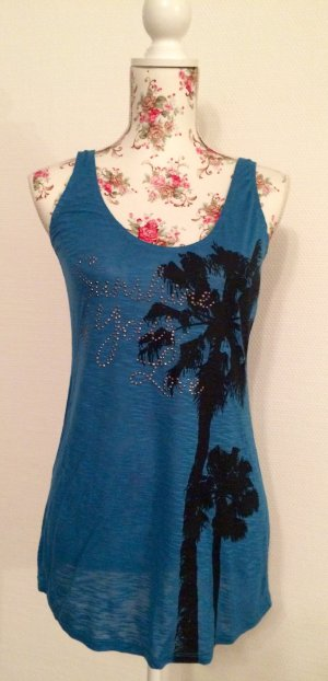 Neu! Trendiges Top in tollem Blauton mit Palmenprint in Gr. S