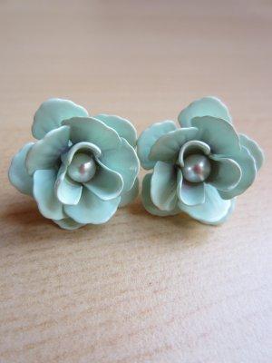 NEU: Türkise Rosen-Ohrstecker mit Perle
