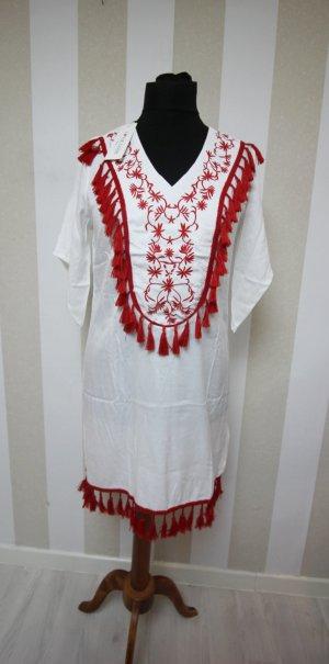 Robe tunique blanc-rouge
