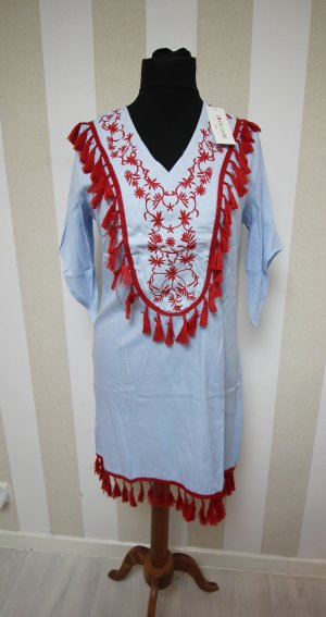 Vestido tipo túnica rojo-azul claro