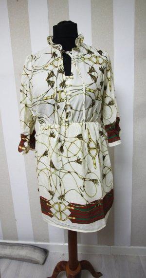Robe tunique rouge-vert foncé