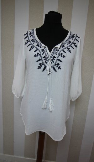 Shirt Tunic white-dark blue