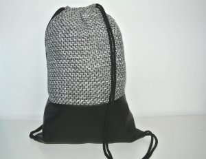 Neu - Turnbeutel - Rucksack grau schwarz Leder - dicker Stoff -